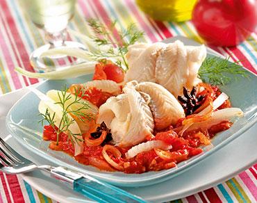 Filets de merlan au fenouil et sa compotée de tomates