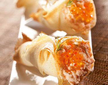 Cornets croustillants de saumons