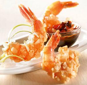 Crevettes enrobées aux flocons de riz