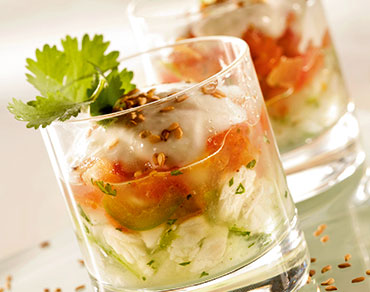 Verrines de poisson et sa purée de tomates